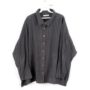 Yasuko Kurisaka Lagenlook Tunic Shirt Jacket Gray